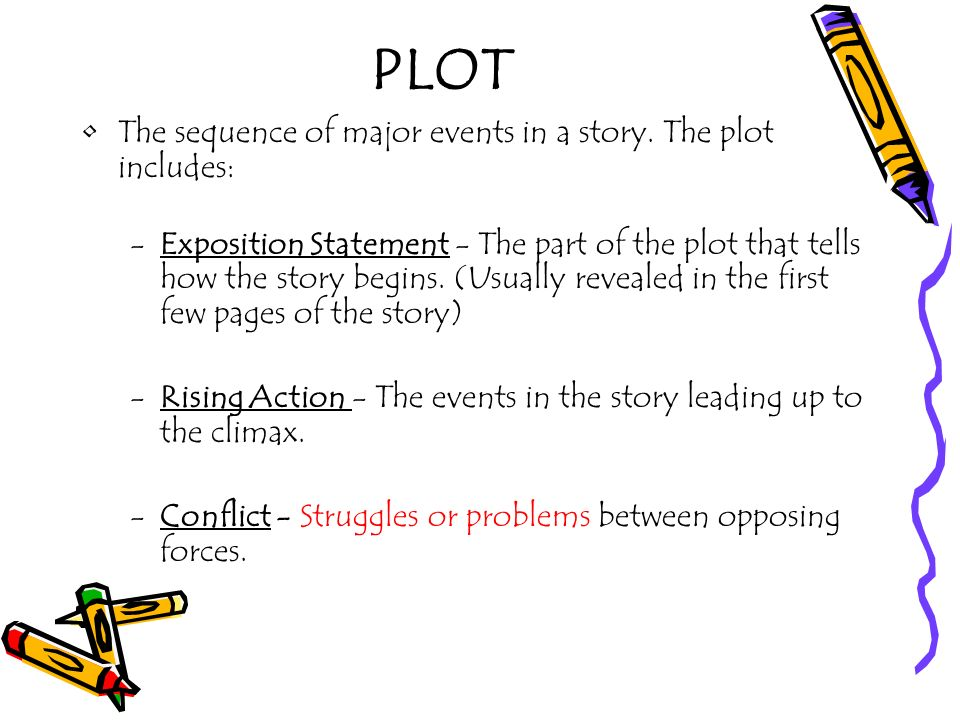 PLOT The sequence of major events in a story. The plot includes: