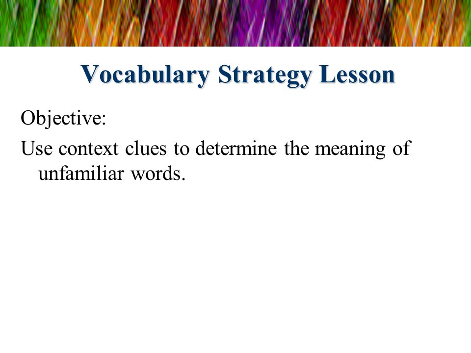 Vocabulary Strategy Lesson