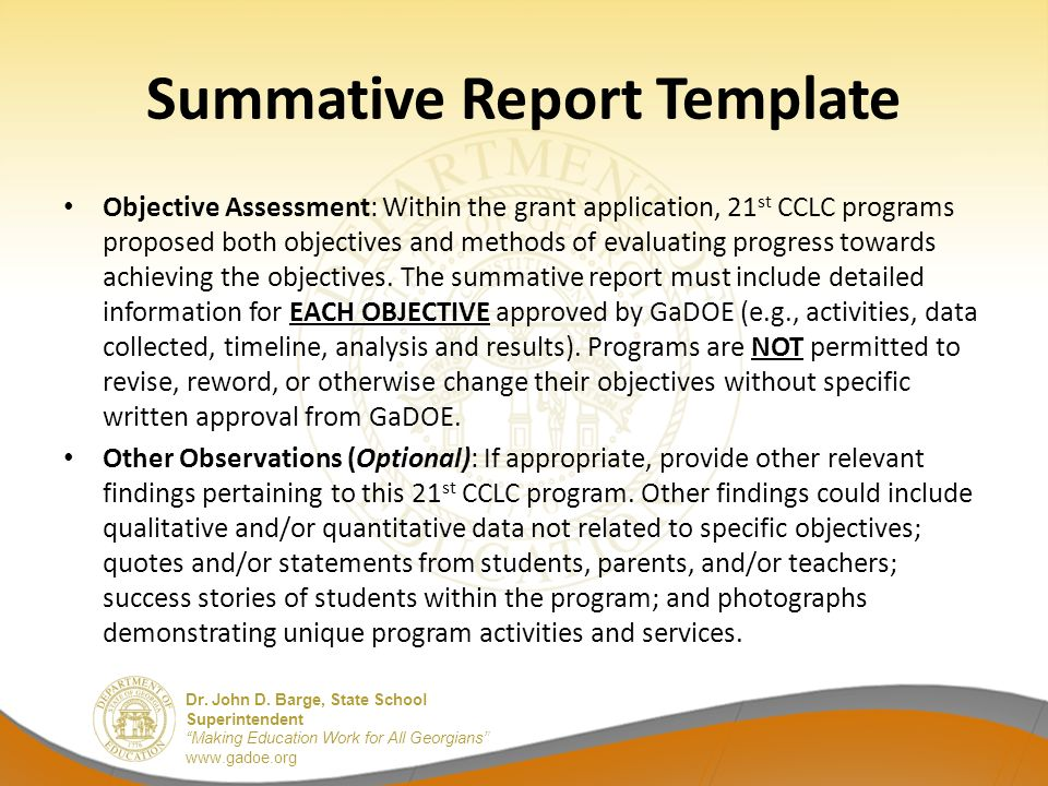 summative assessment template - evaluating your 21st cclc program and lessons learned by