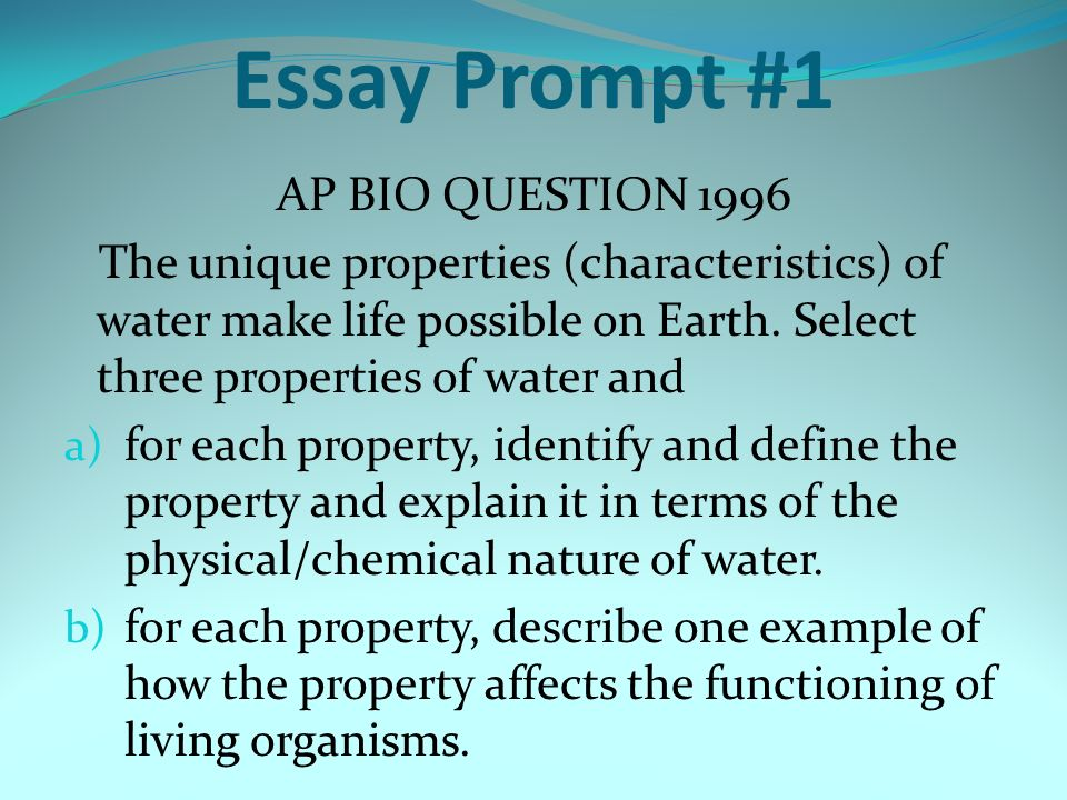ap biology chemistry essays Ap chemistry ap physics ap us  the ap biology test wants to show you what good science looks like on  while other essays spanning three to four pages.