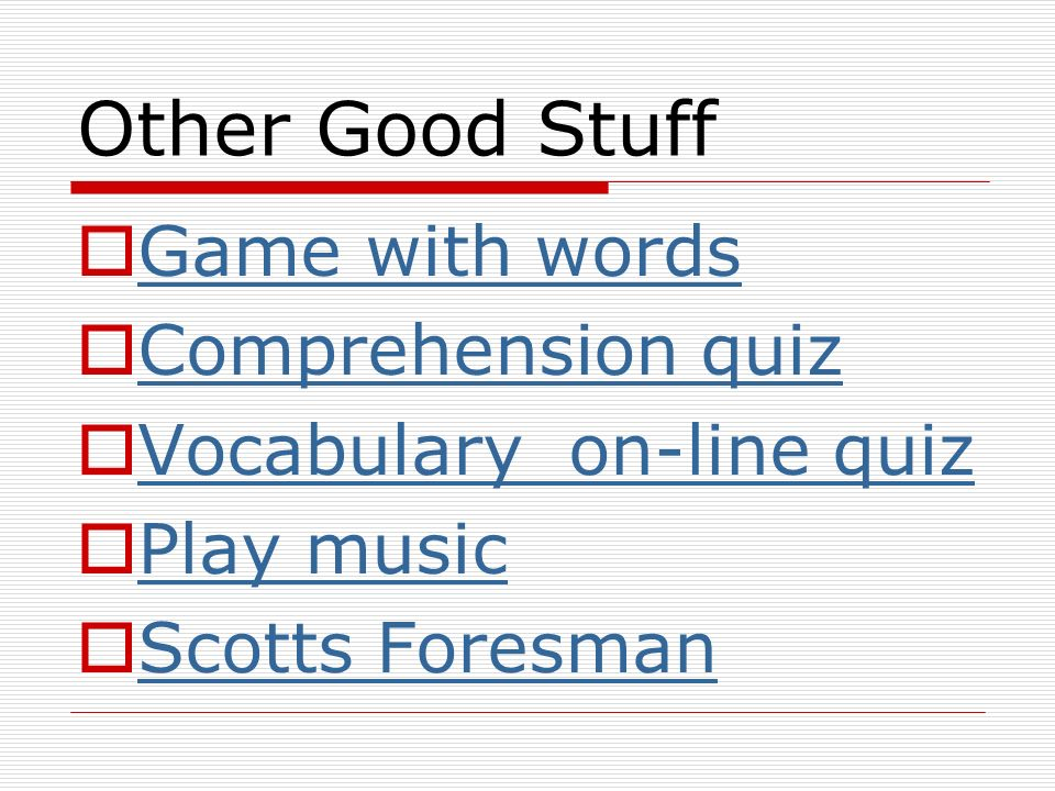 Other Good Stuff Game with words Comprehension quiz