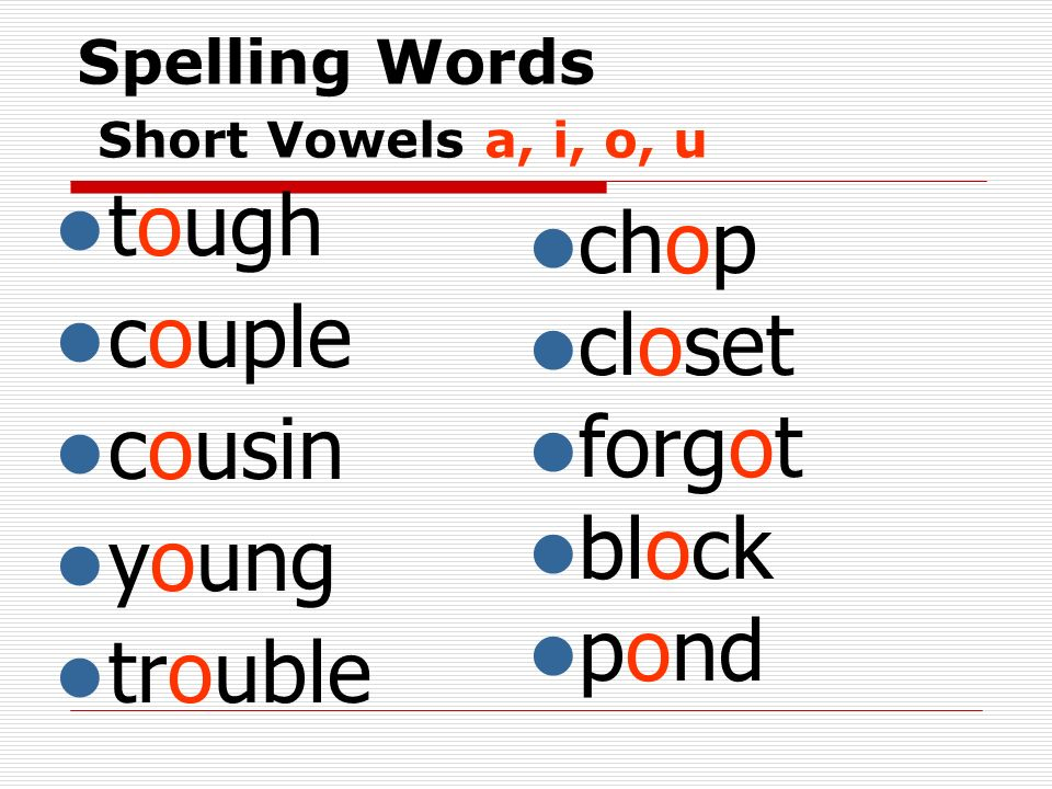 Spelling Words Short Vowels a, i, o, u