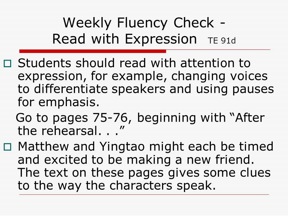 Weekly Fluency Check - Read with Expression TE 91d