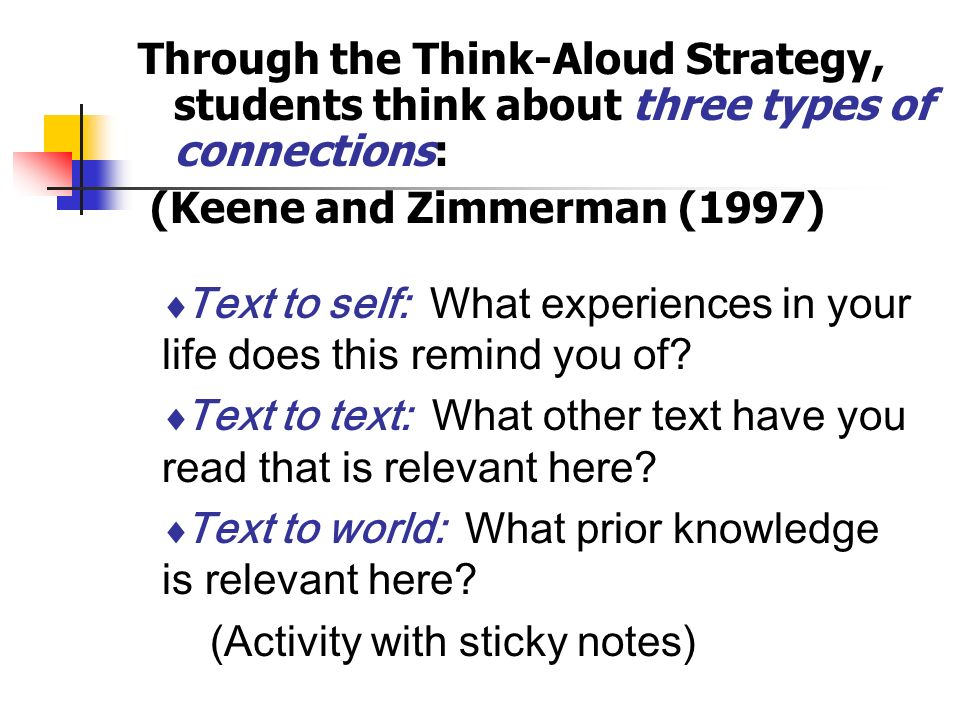 Through the Think-Aloud Strategy, students think about three types of connections: