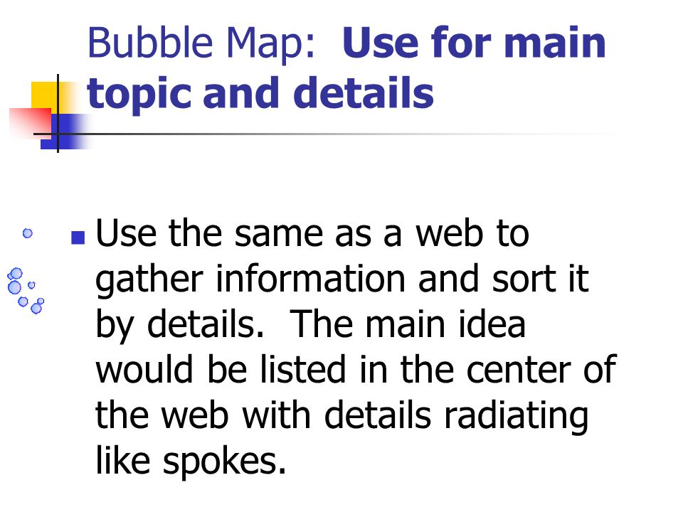 Bubble Map: Use for main topic and details