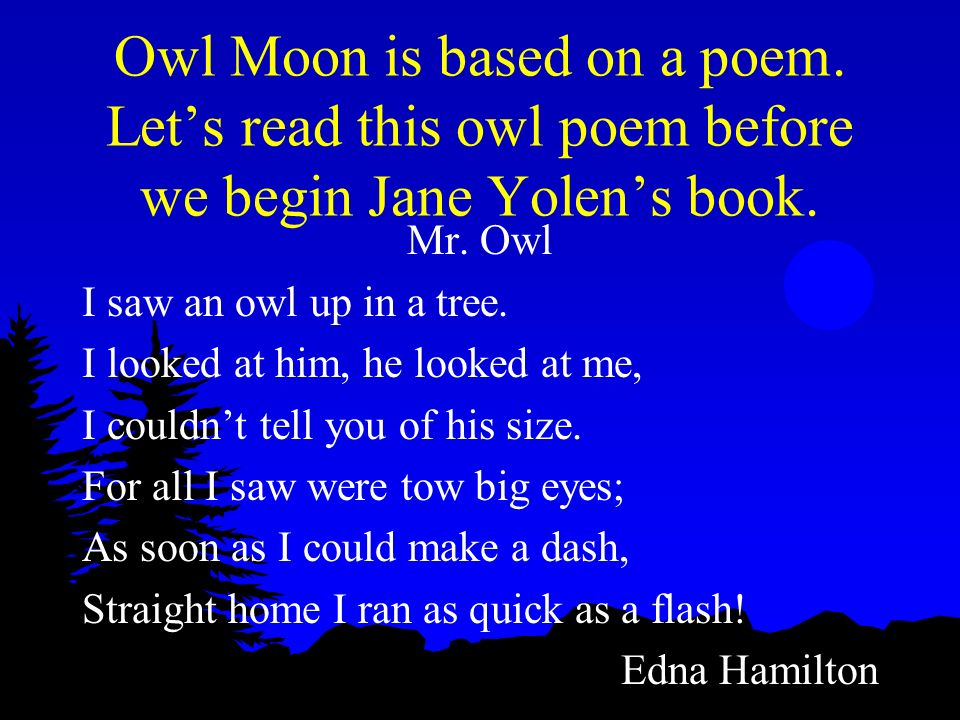 Owl Moon is based on a poem
