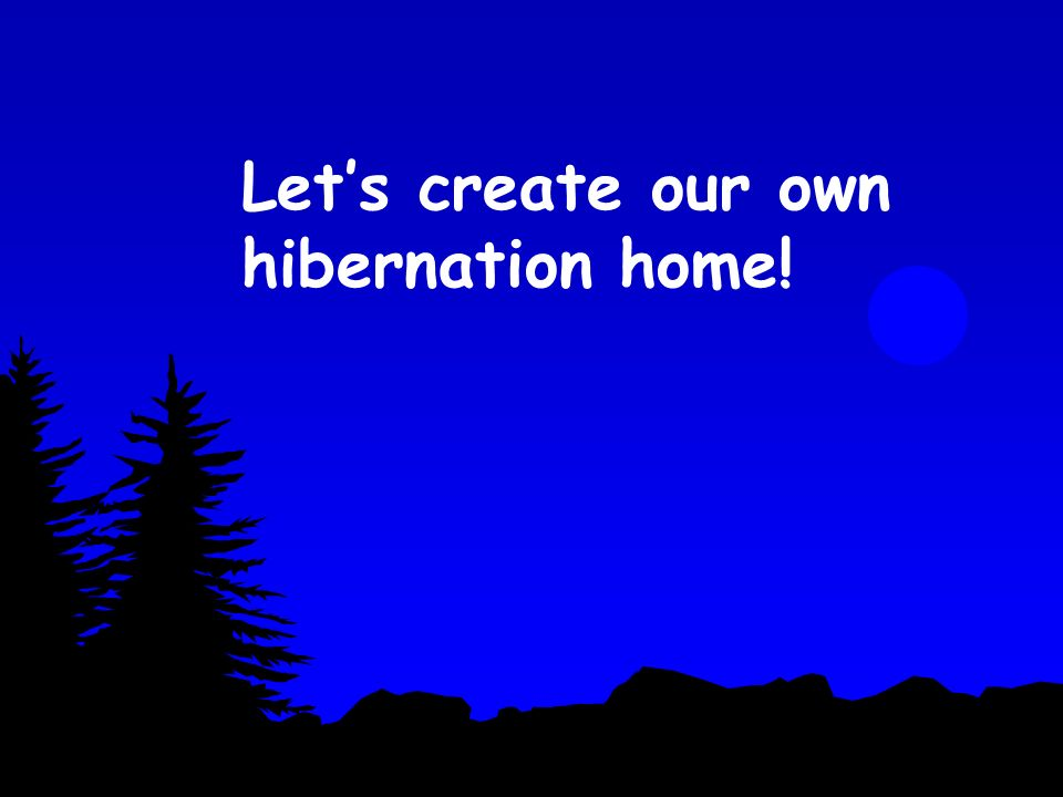 Let's create our own hibernation home!