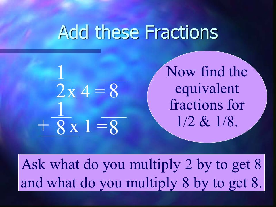 1 2 8 1 + 8 8 Add these Fractions x 4 = x 1 = Now find the equivalent