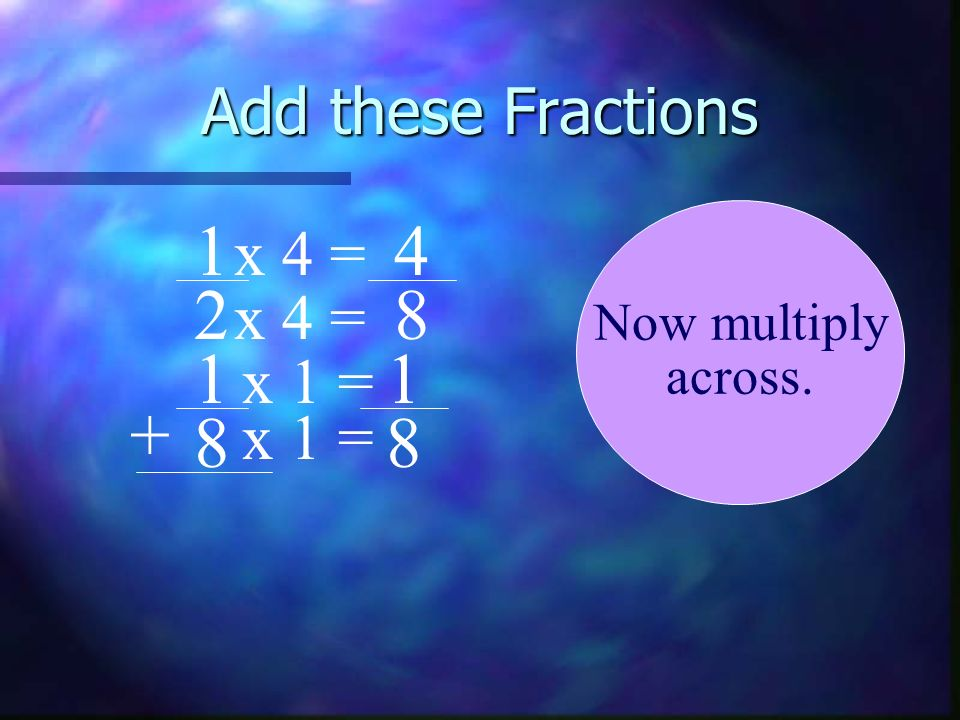 Add these Fractions x 4 = x 4 = x 1 = x 1 =