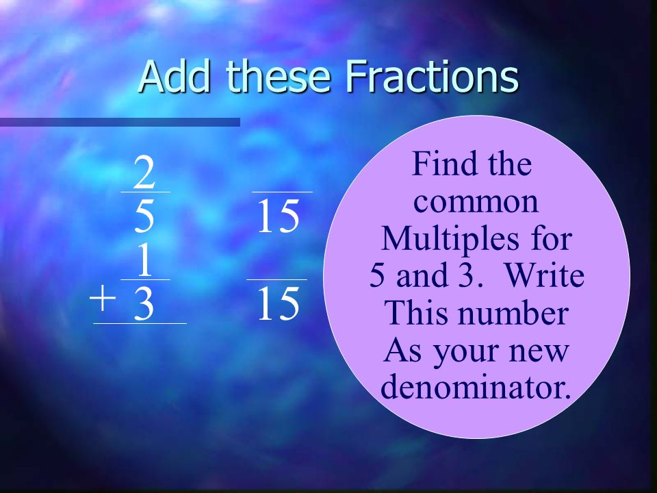 2 5 15 1 + 3 15 Add these Fractions Find the common Multiples for