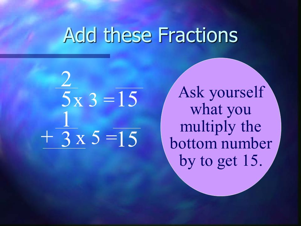 2 5 15 1 + 3 15 Add these Fractions x 3 = x 5 = Ask yourself what you