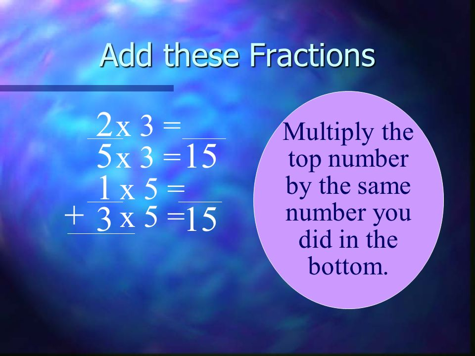 2 5 15 1 + 3 15 Add these Fractions x 3 = x 3 = x 5 = x 5 =