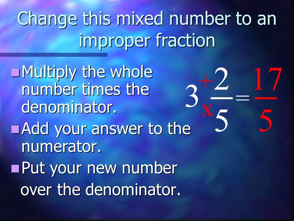 Change this mixed number to an improper fraction