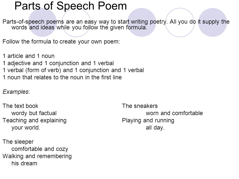 definition of parts of speech with examples pdf