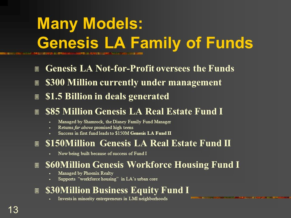 Many Models: Genesis LA Family of Funds