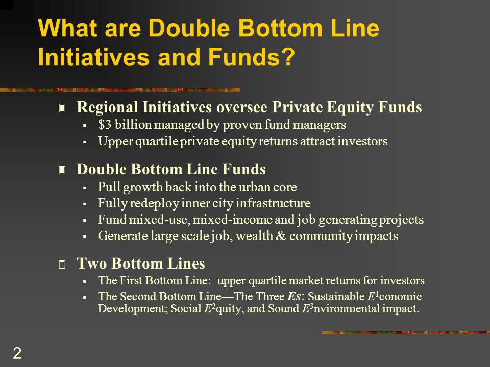 What are Double Bottom Line Initiatives and Funds