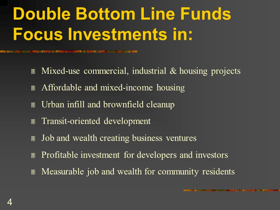 Double Bottom Line Funds Focus Investments in: