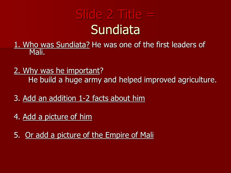 sundiata characteristics Epic qualities of the sundiata by dr janice siegel an epic is a long, narrative tale that reflects the totality of a culture by the time you are done reading an.