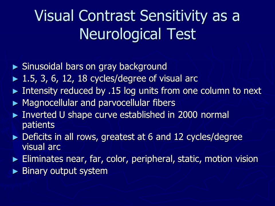 Visual Contrast Sensitivity as a Neurological Test