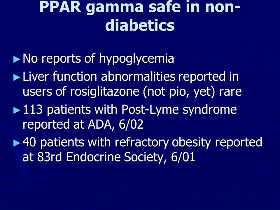 PPAR gamma safe in non-diabetics