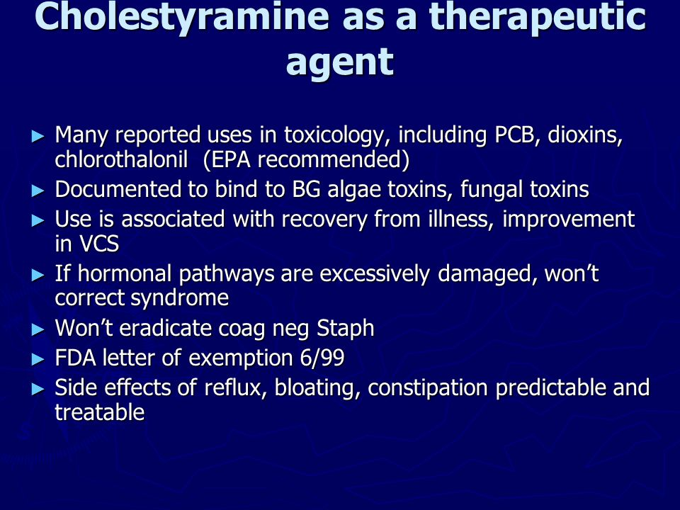 Cholestyramine as a therapeutic agent