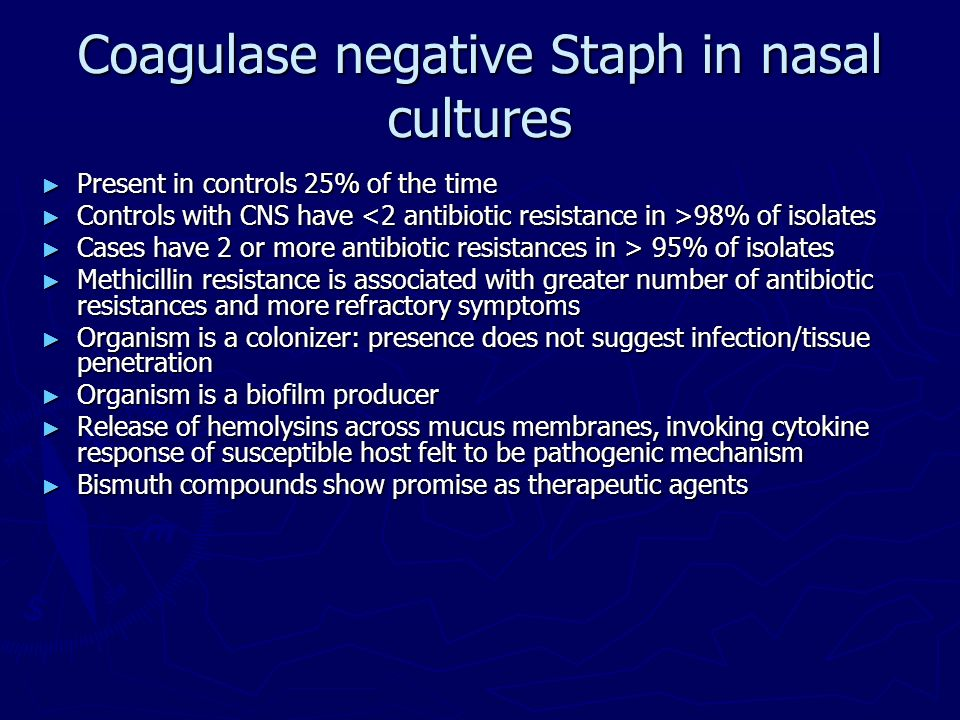 Coagulase negative Staph in nasal cultures