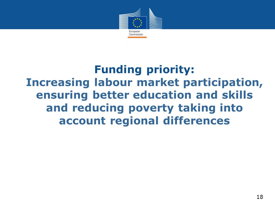 Funding priority: Increasing labour market participation, ensuring better education and skills and reducing poverty taking into account regional differences