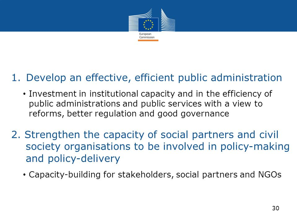 Develop an effective, efficient public administration