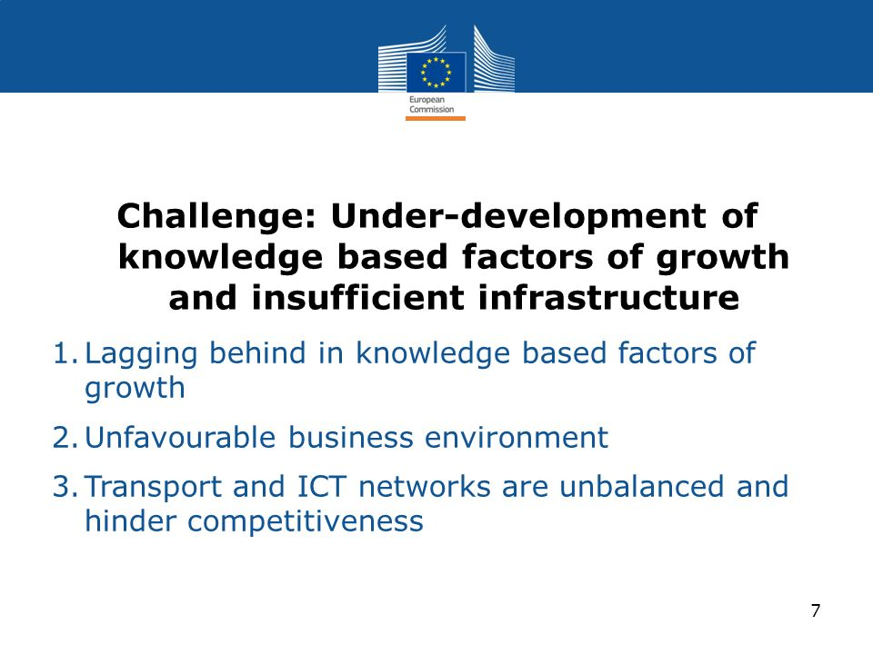 Challenge: Under-development of knowledge based factors of growth and insufficient infrastructure