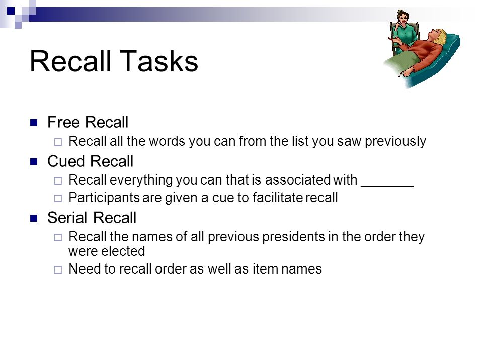 memory recall for word lists Effects of organization on recognition memory larry l jacoby l on recall of relationships between study items is attributed to an effect on search.