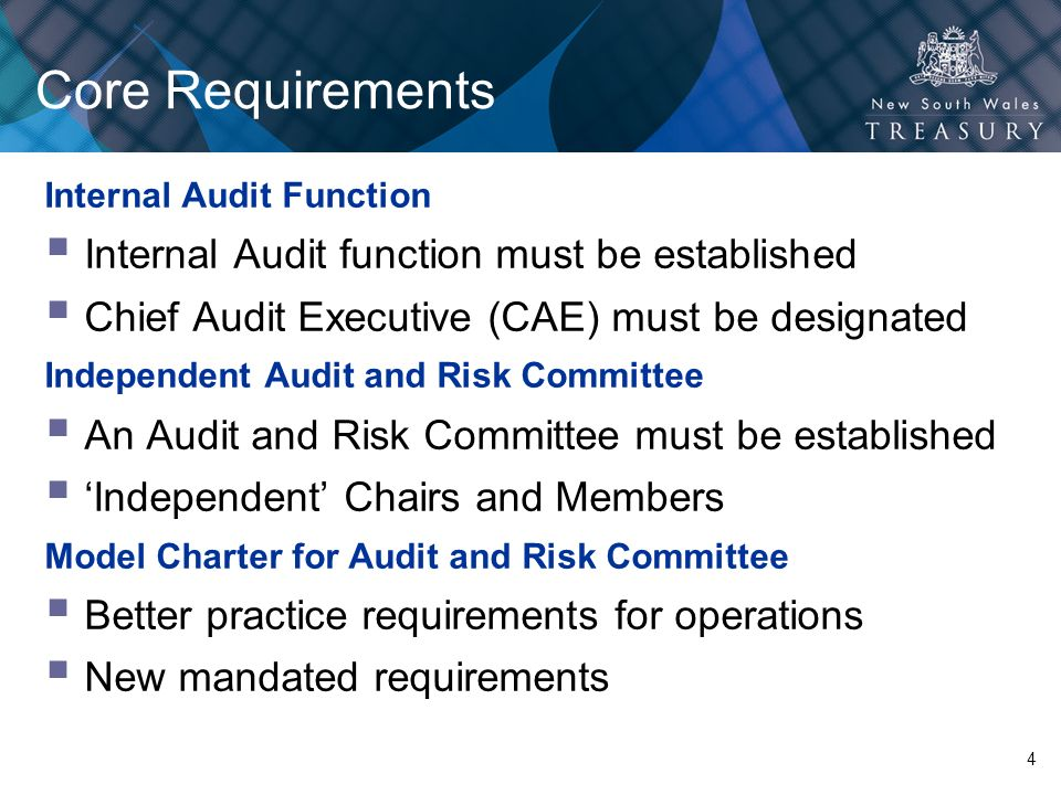 Core Requirements Internal Audit function must be established