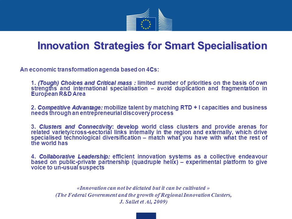 Innovation Strategies for Smart Specialisation