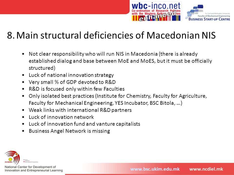 8. Main structural deficiencies of Macedonian NIS