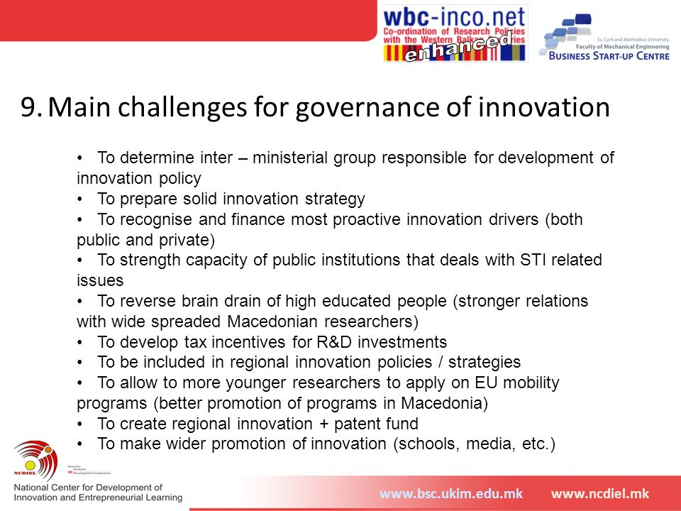 9. Main challenges for governance of innovation