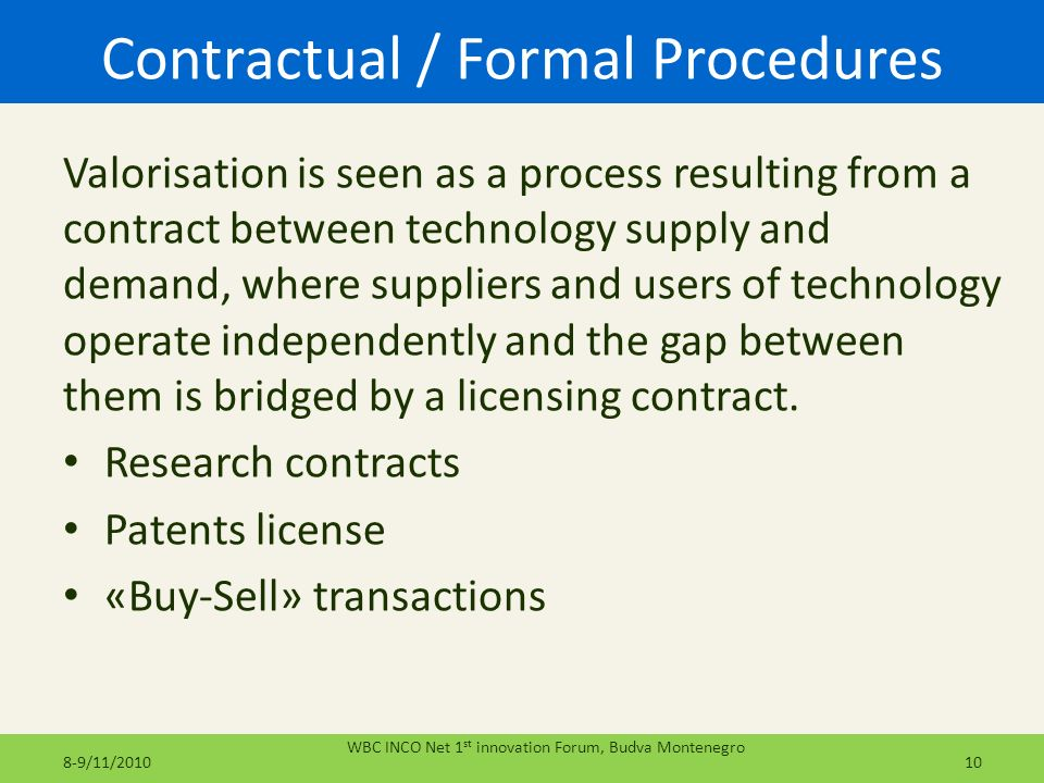 Contractual / Formal Procedures