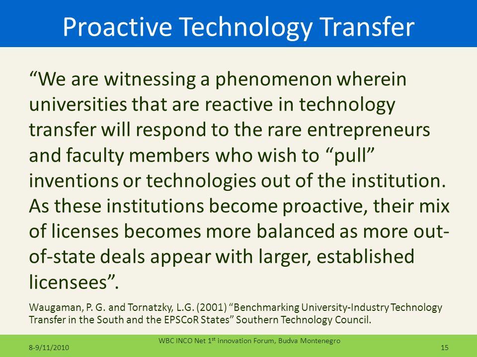 Proactive Technology Transfer