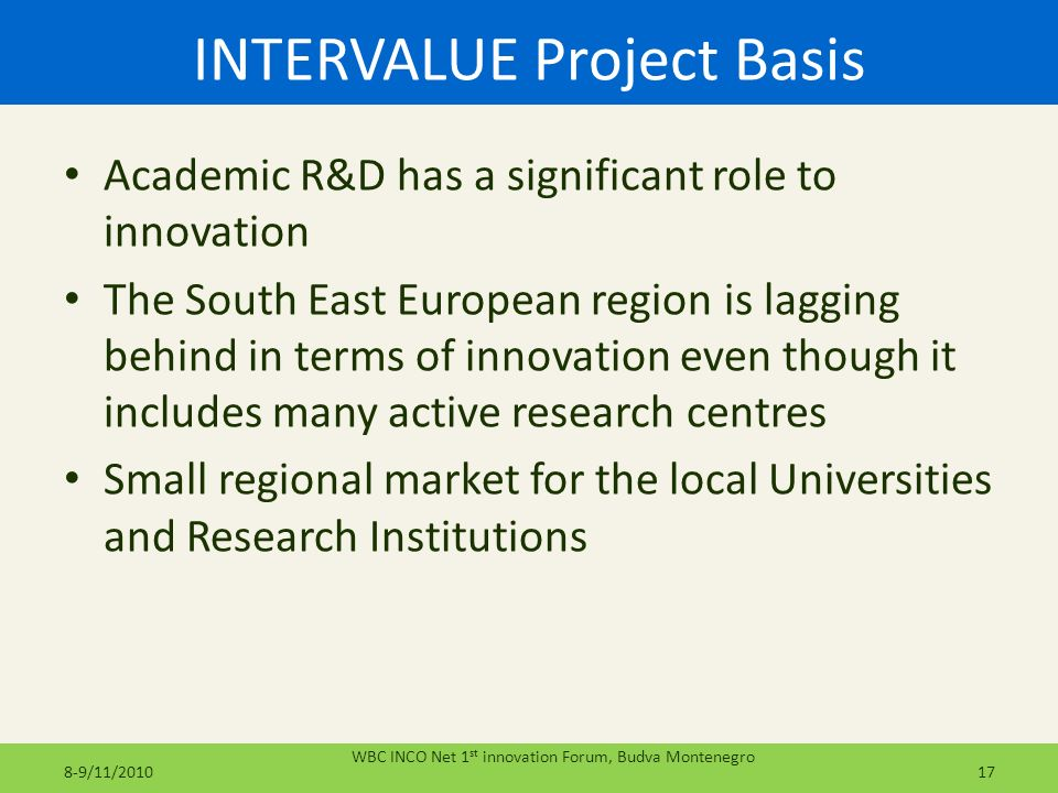INTERVALUE Project Basis