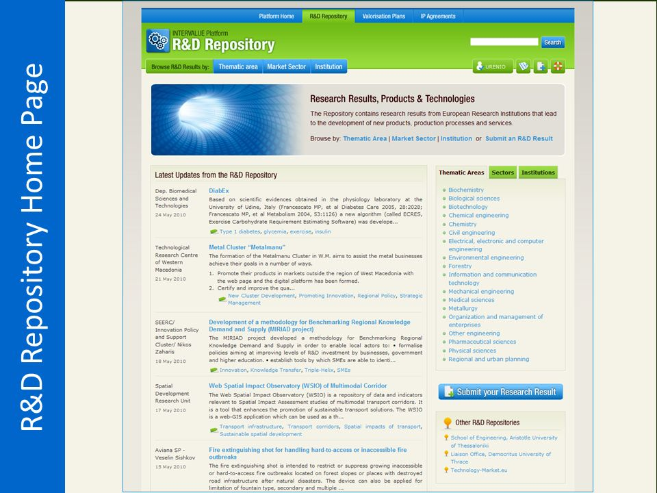 R&D Repository Home Page