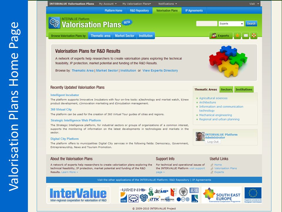 Valorisation Plans Home Page