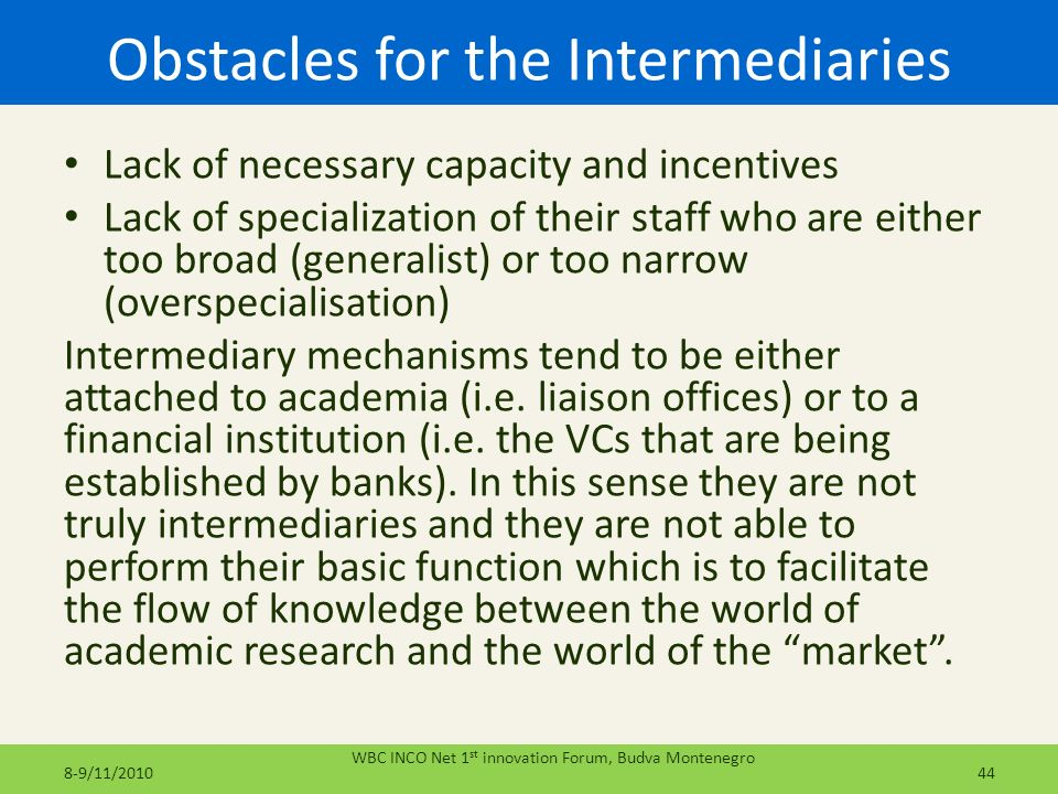 Obstacles for the Intermediaries