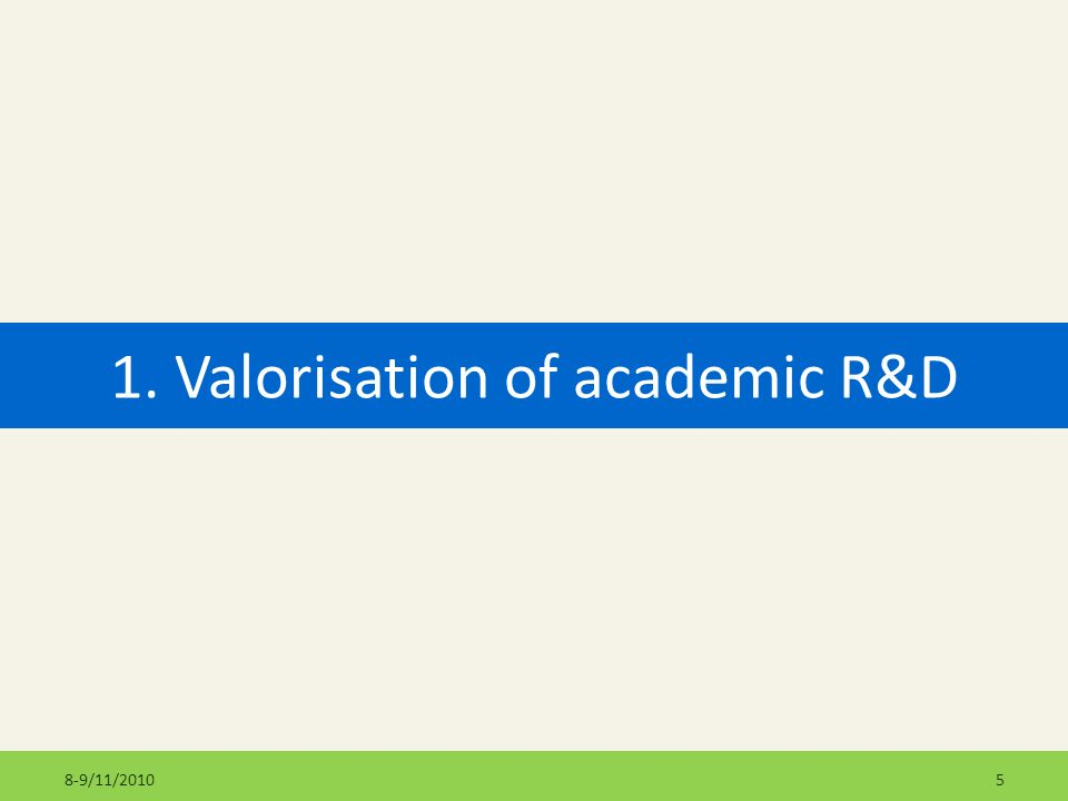 1. Valorisation of academic R&D