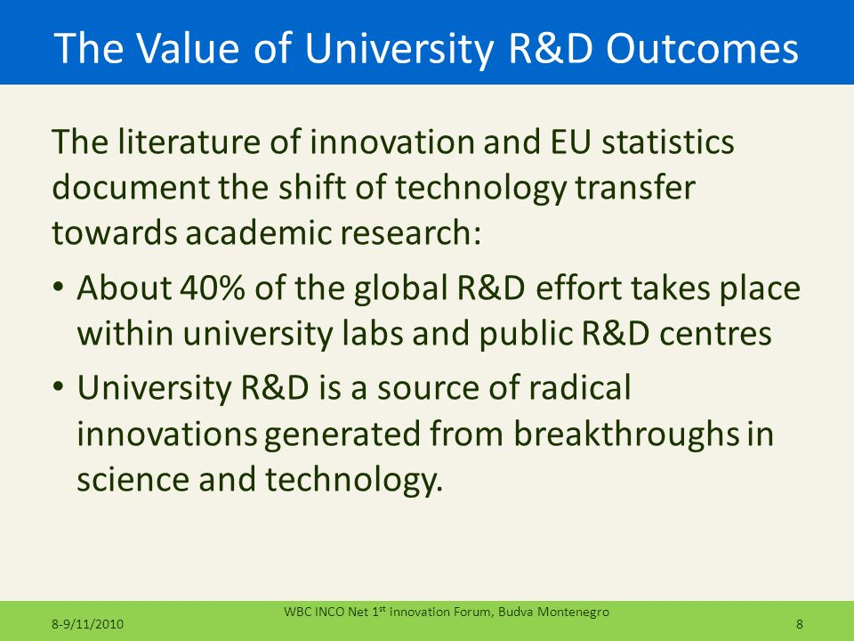 The Value of University R&D Outcomes