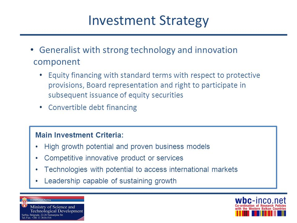 Investment Strategy Generalist with strong technology and innovation component.