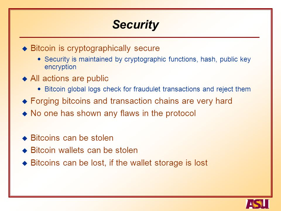 Security Bitcoin Is Cryptographically Secure All Actions Are Public