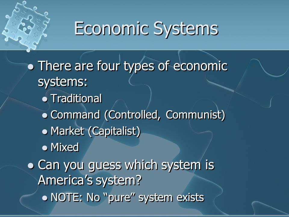 a research on capitalist and command economic system While capitalism is a better economic system than socialism or communism, it does have advantages and disadvantages the freedom of choice and focus on making a profit can lead to income inequality, unstable financial markets, concentration of wealth in the upper classes and unfair labor practices.