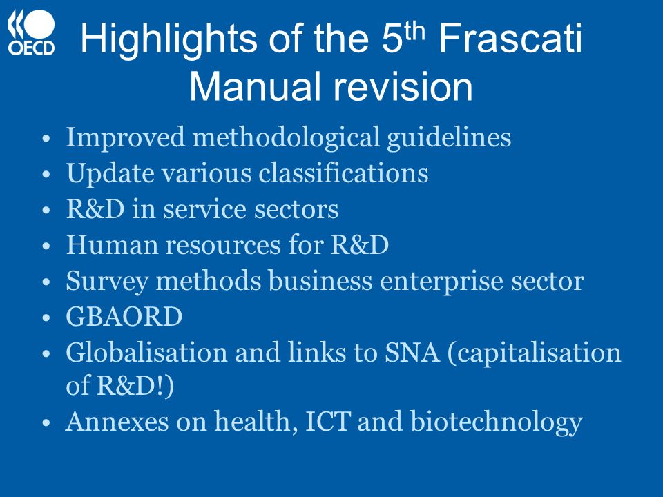 Highlights of the 5th Frascati Manual revision