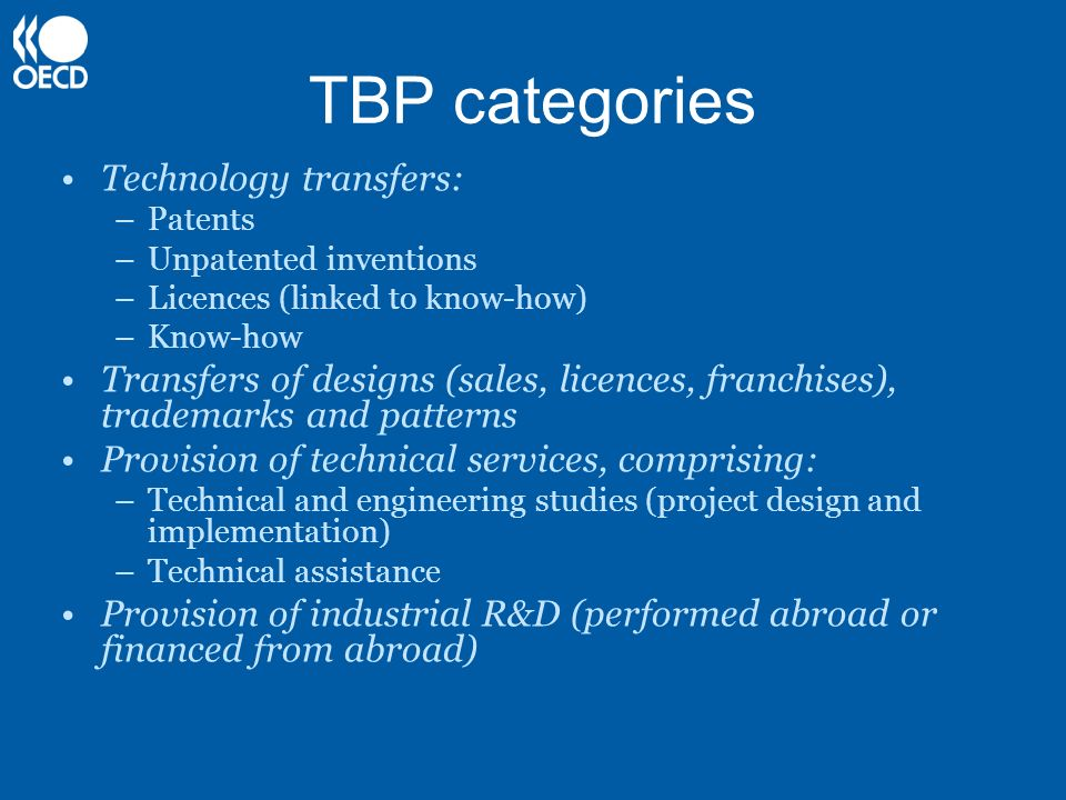 TBP categories Technology transfers: