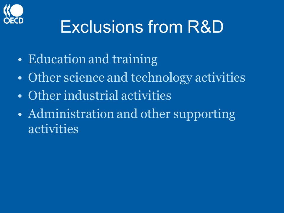 Exclusions from R&D Education and training