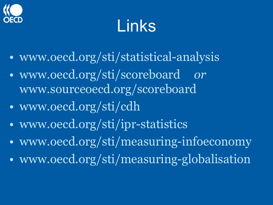 Links www.oecd.org/sti/statistical-analysis