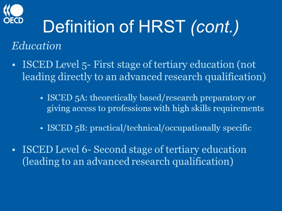 Definition of HRST (cont.)